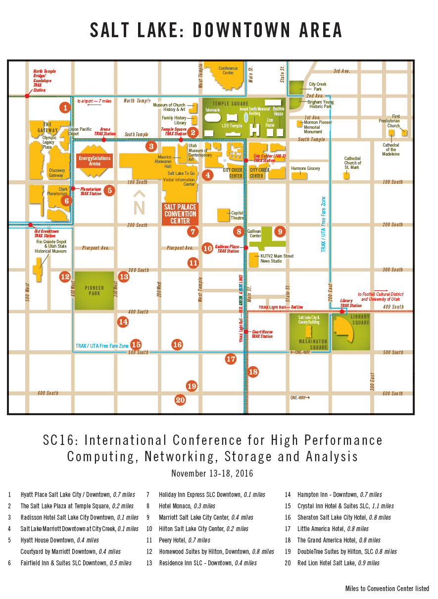 Make Your SC16 Hotel Reservations Now! - SC16 Salt Lake City Downtown Hotels Map on salt lake city cemetery map, salt lake city parking map, salt lake city airport map, salt lake city utah map, salt lake city attractions, salt lake city tourist map, salt lake city grid map,